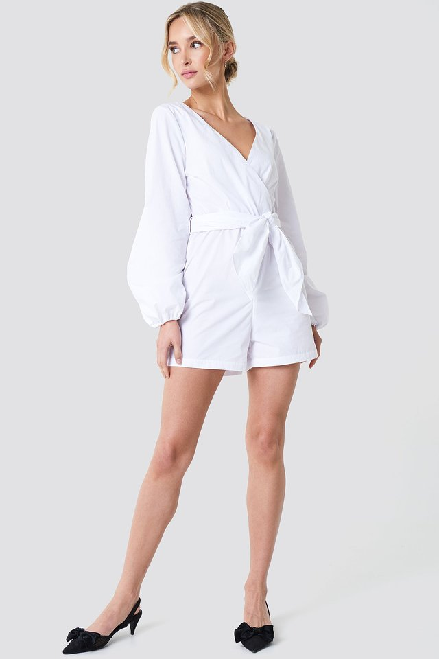 Balloon Sleeve Shirt Playsuit Outfit.
