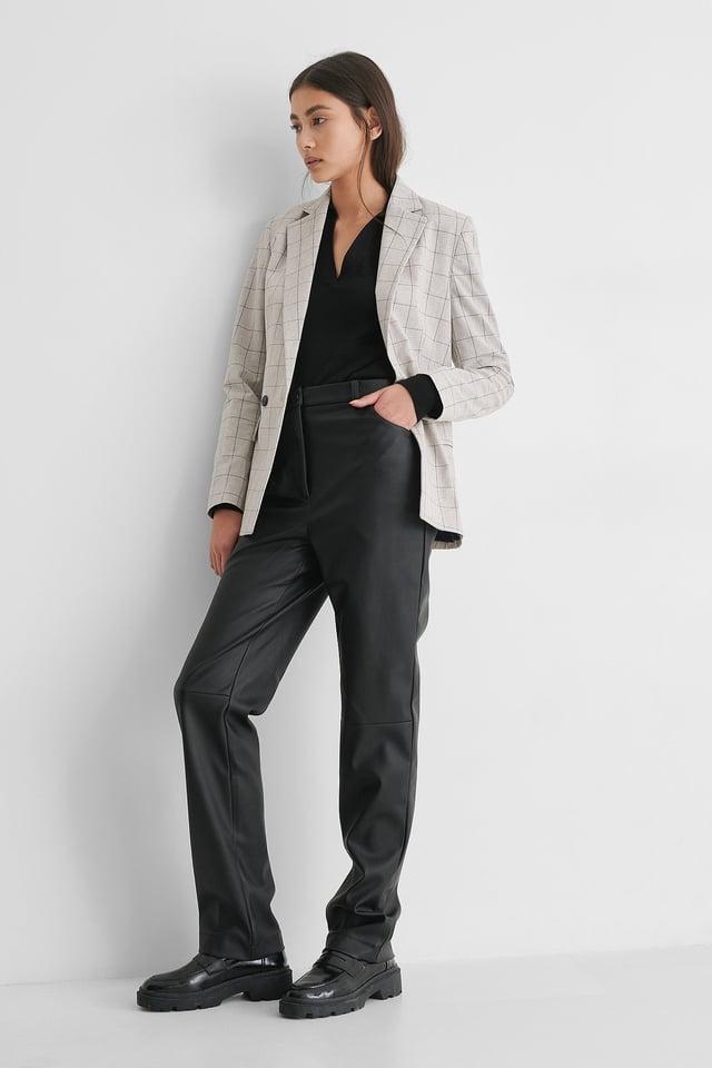 Check Blazer Outfit.