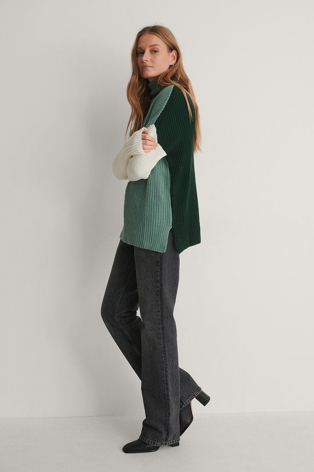 Color Block Knit Sweater Outfit.