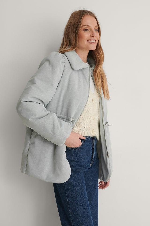 Melange Padded Drawstring Jacket Outfit.