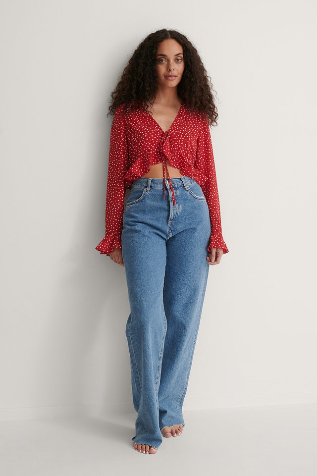 Dotted Flounce Blouse Outfit.
