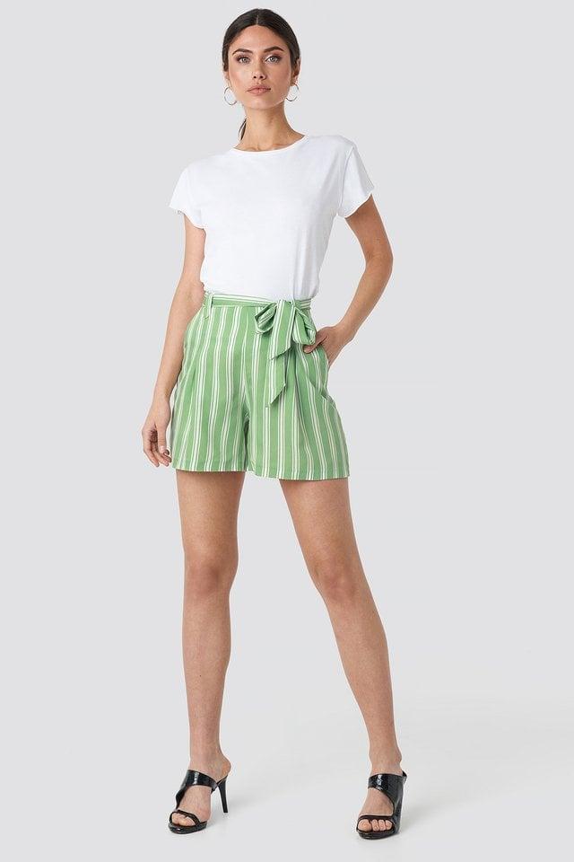 Mint Binding Detailed Shorts
