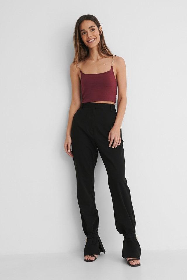 Black Chain Detail Suit Pants