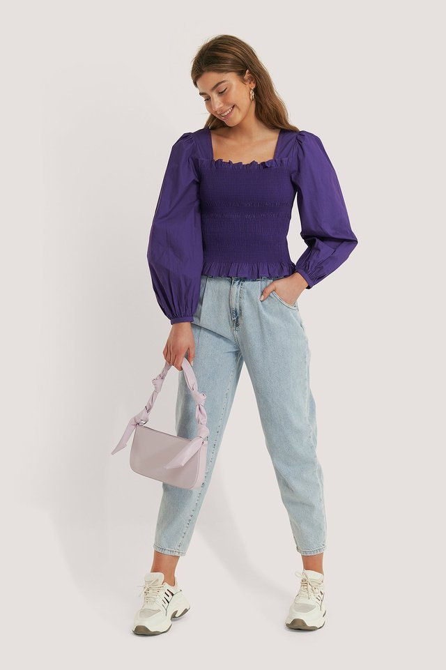 Smocked Balloon Sleeve Blouse Outfit.