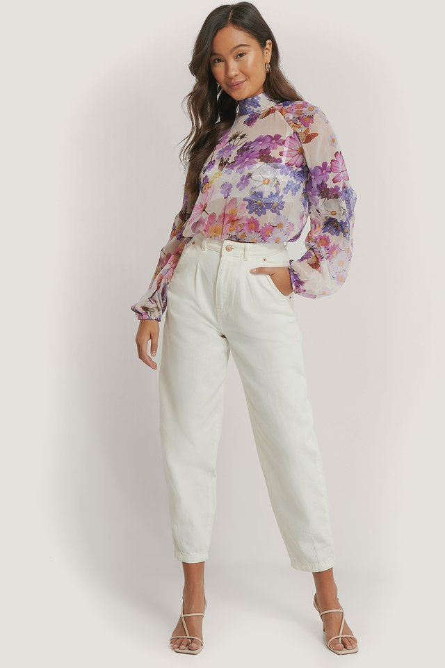 Balloon Sleeve Chiffon Blouse Outfit.