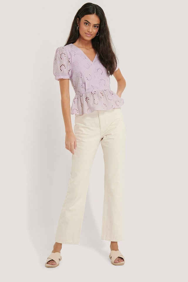 Flower Anglaise Blouse Outfit.