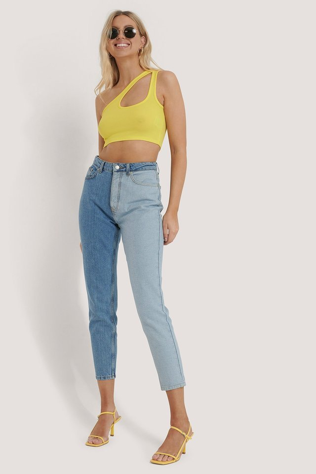 Side Striped Cropped Top Outfit.