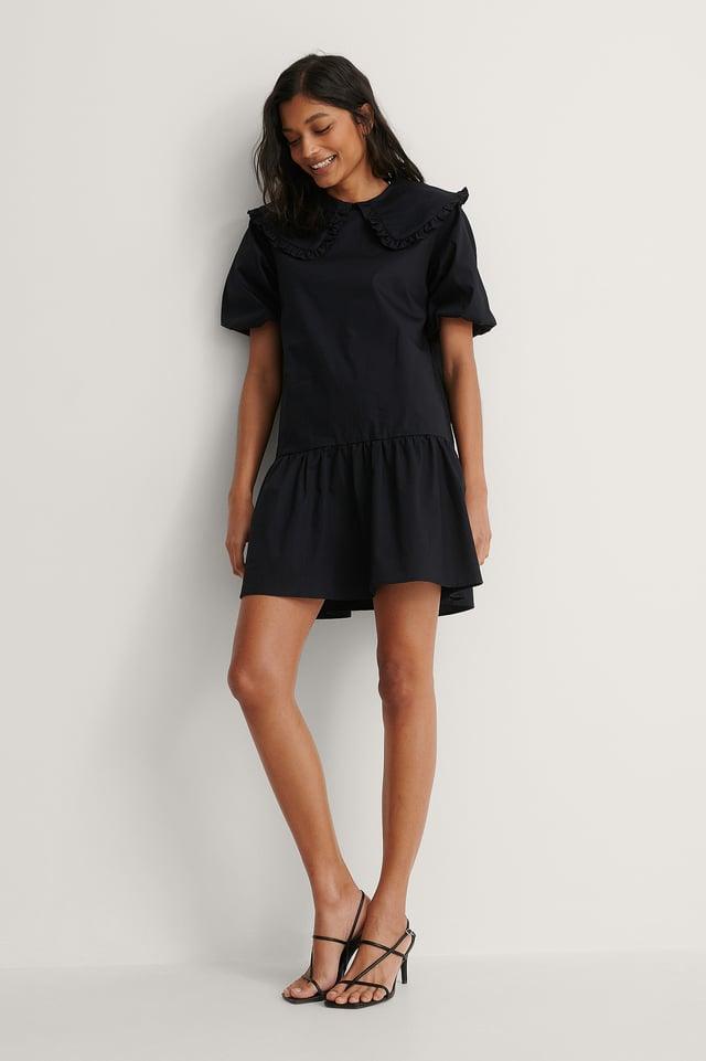 Big Collar Mini Dress Outfit.