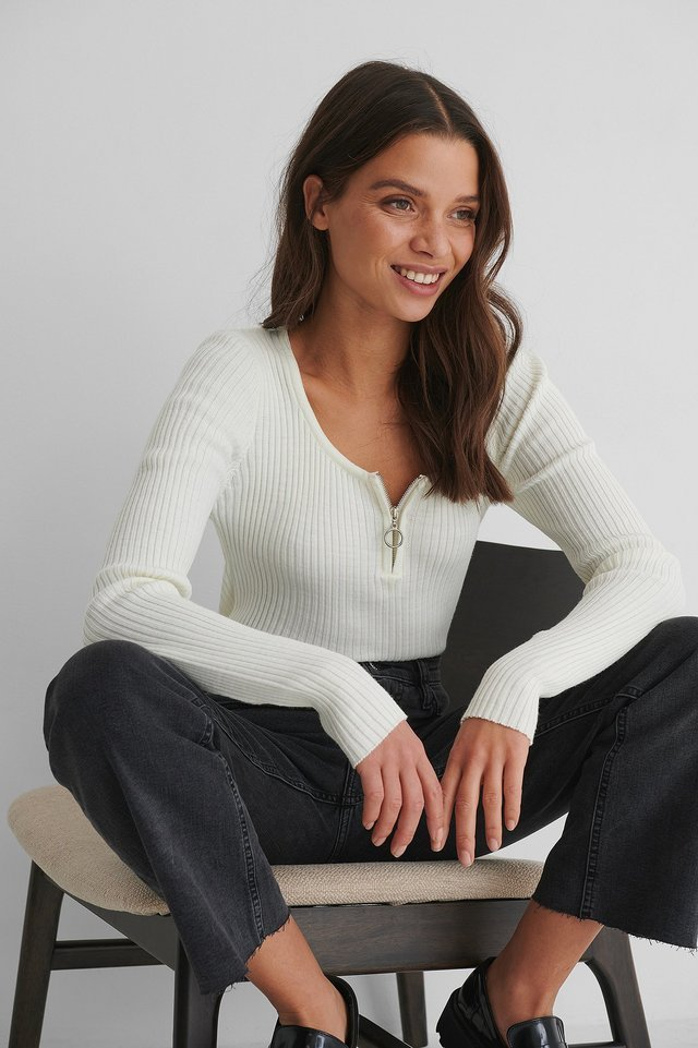 Zippered Knit Top Outfit.