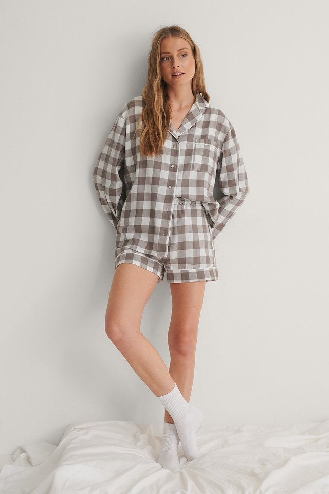 Flannel Pyjamas Shorts Outfit.