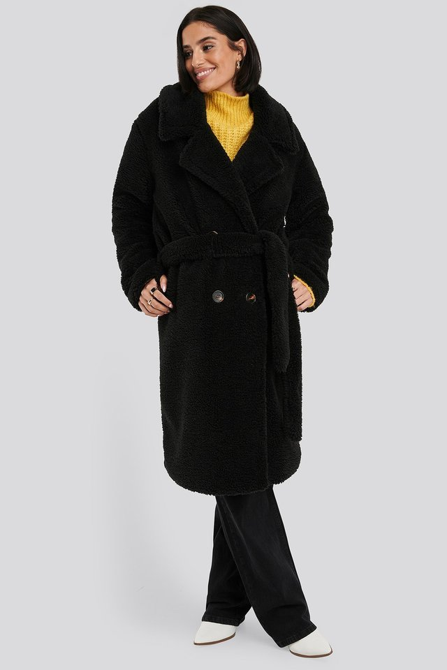 Belted Long Teddy Coat Black.