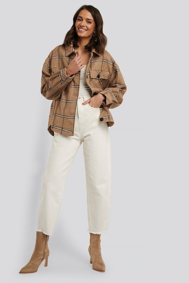 Checked Front Pocket Jacket Beige.