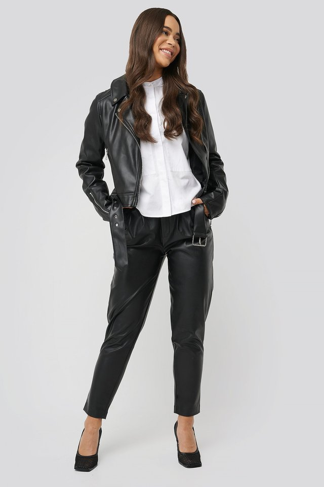 Biker PU Jacket Black.