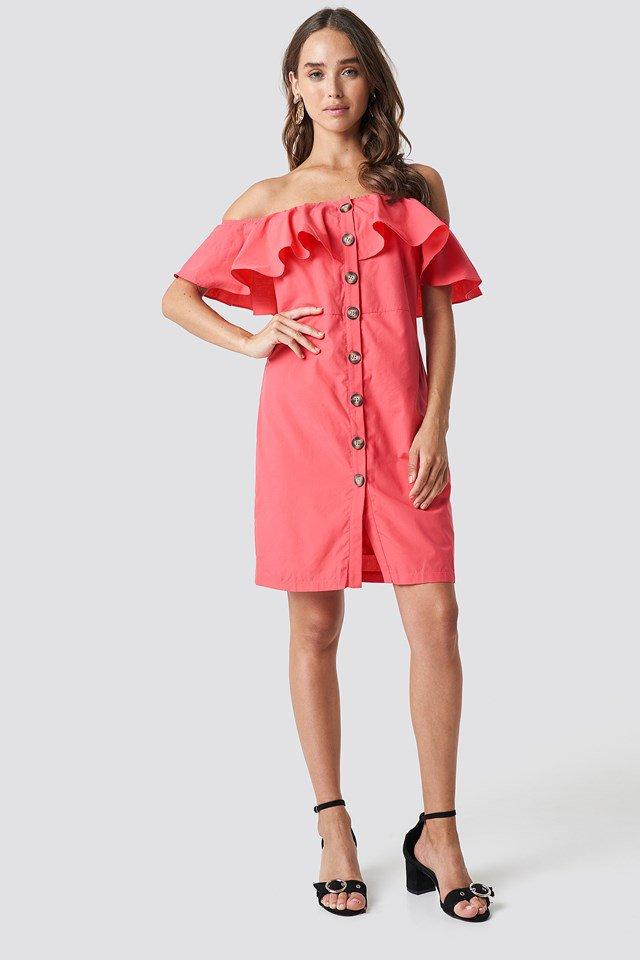 Buttoned Off Shoulder Midi Dress