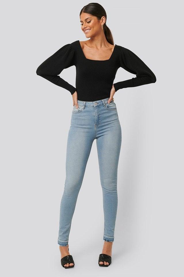 Skinny High Waist Open Hem Jeans Tall Blue.