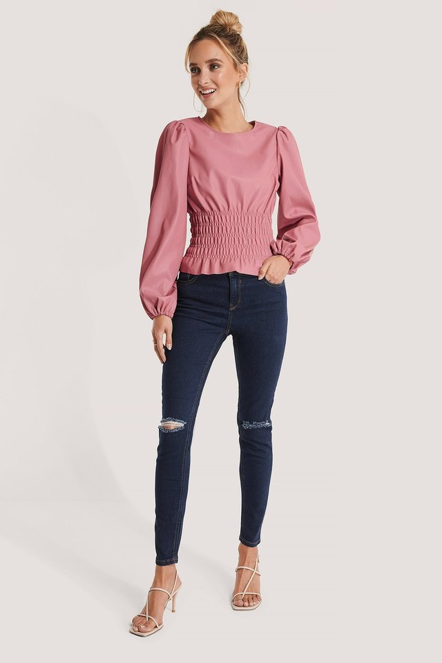 Skinny Mid Rise Ankle Jeans Blue.