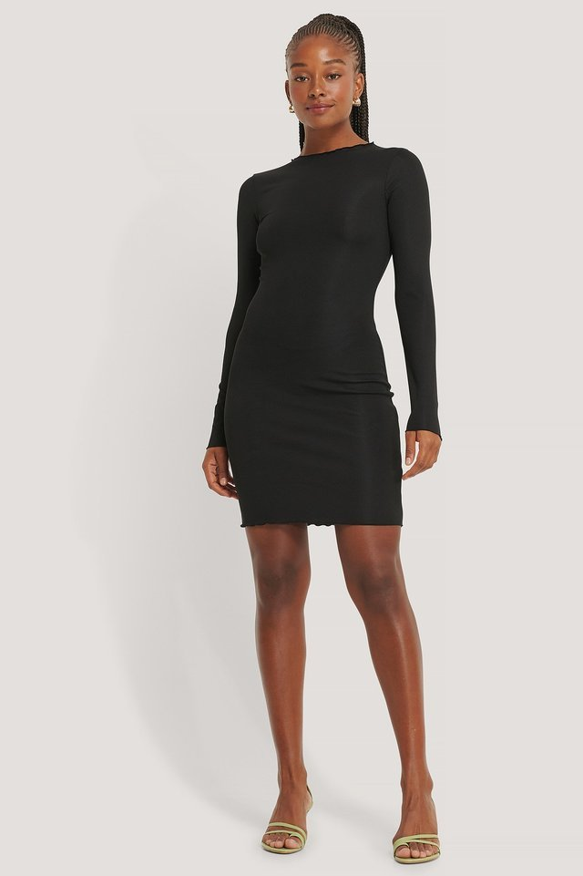 Ruffle Edge Rib Dress Outfit.