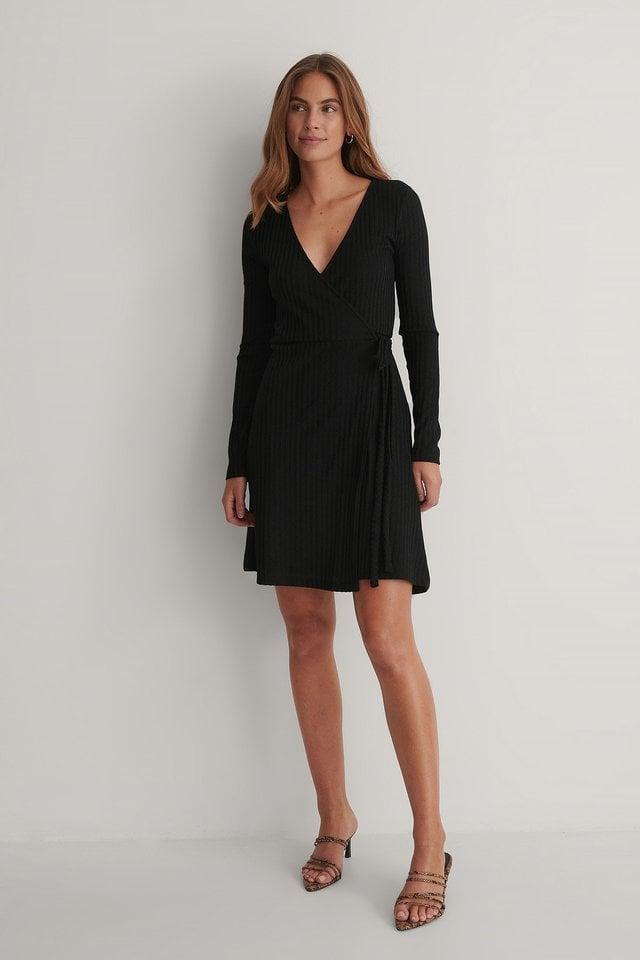 Rib Wrap Dress Outfit.