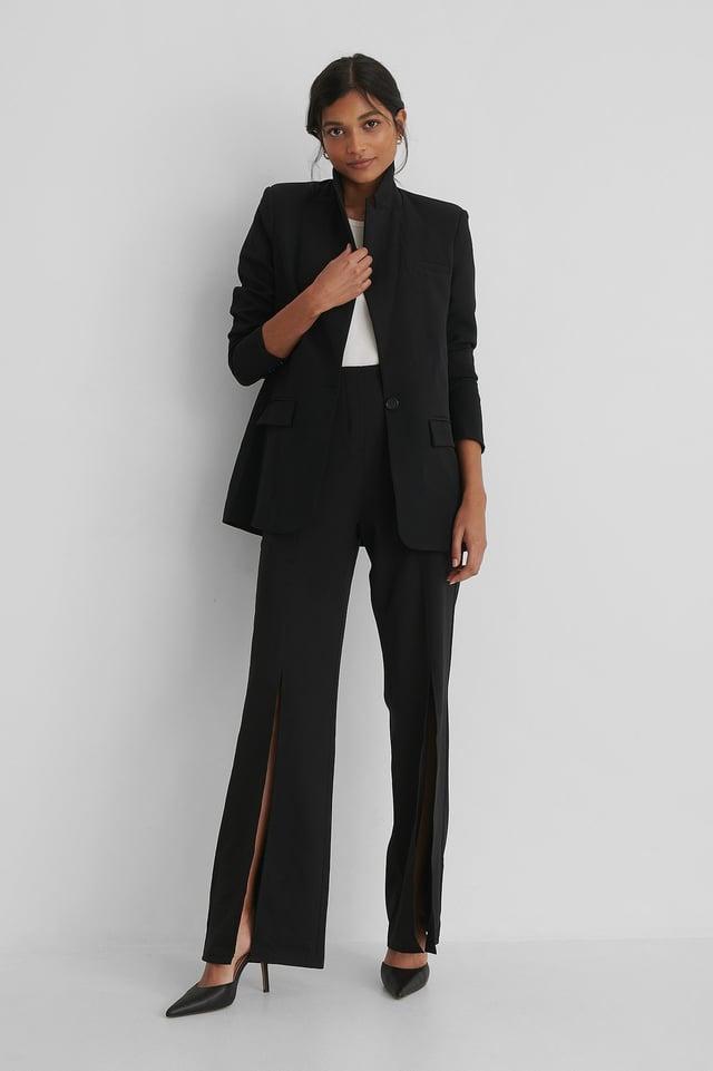 Pocket Detail Blazer Outfit.