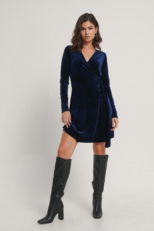 Wrap Velvet Dress Outfit.