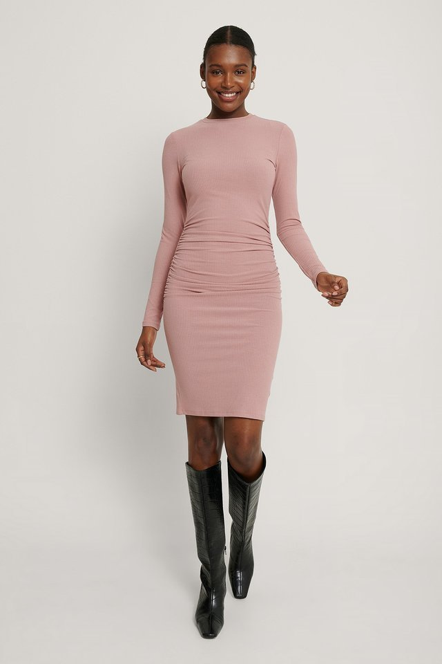 Rouched Rib Dress Outfit.