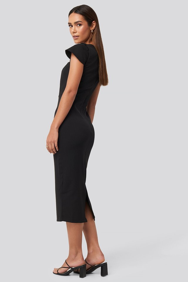 Sleeve Detailed Midi Dress Outfit.