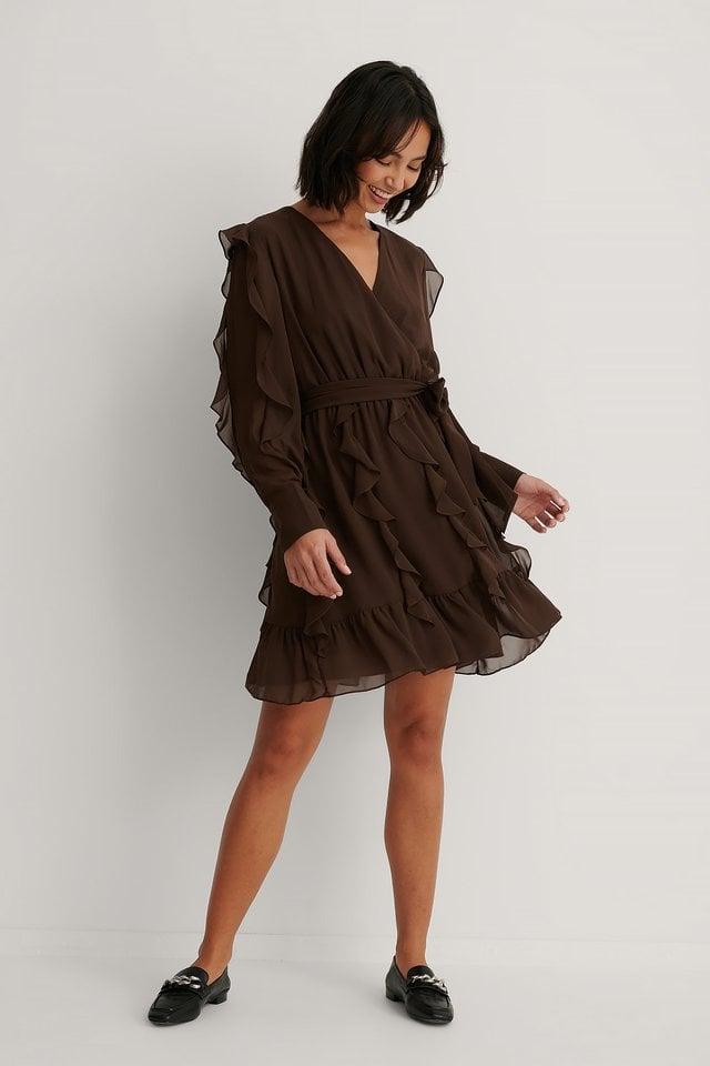 Milla Ruffle Detail Mini Dress Outfit.
