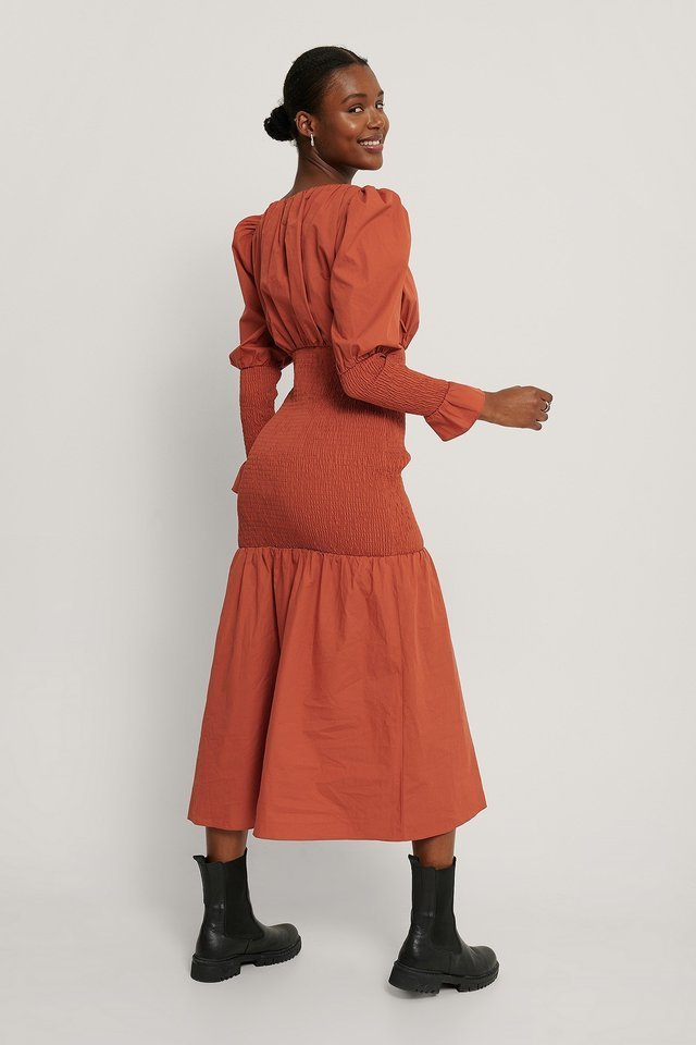 Smocked Sleeve Dress Outfit.