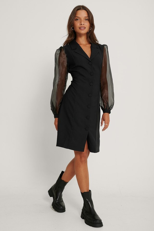 Mesh Sleeve Midi Dress Outfit.