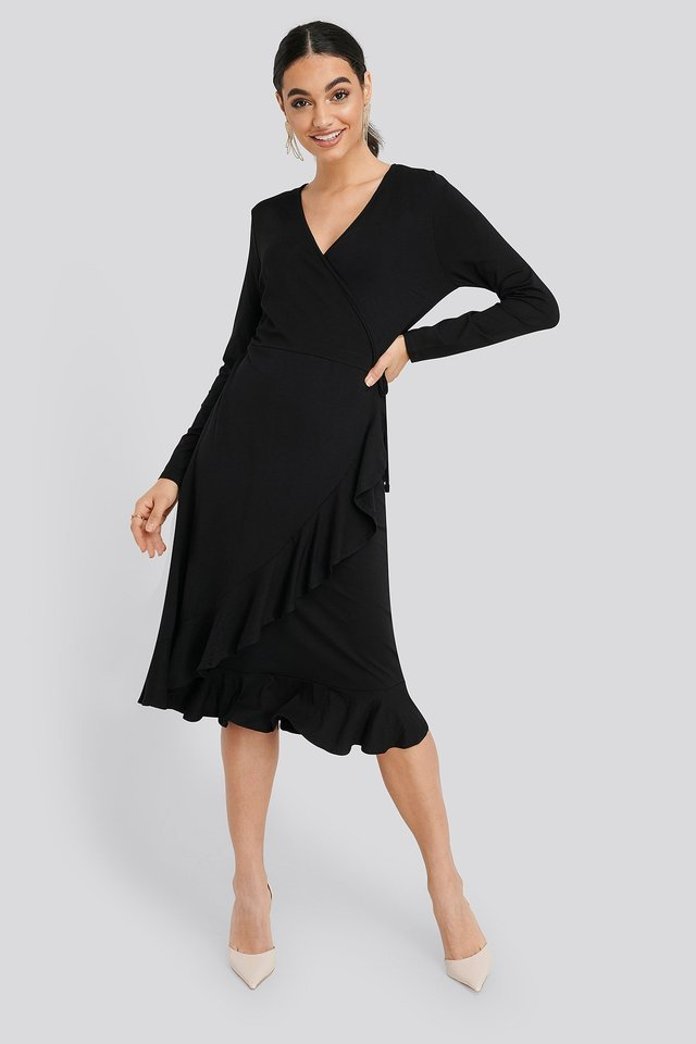Wrap Knitted Dress Outfit.