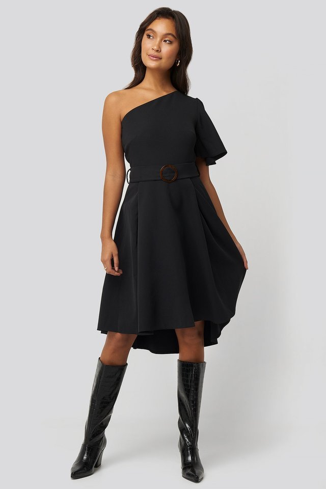 One Shoulder Belted Midi Dress Outfit.
