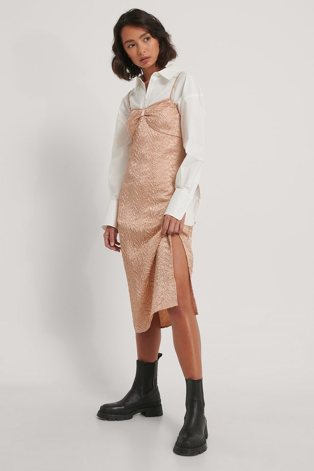 Midi Satin Structured Dress Outfit.