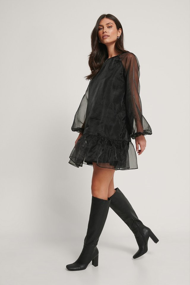 Bottom Flounce Organza Dress Outfit.