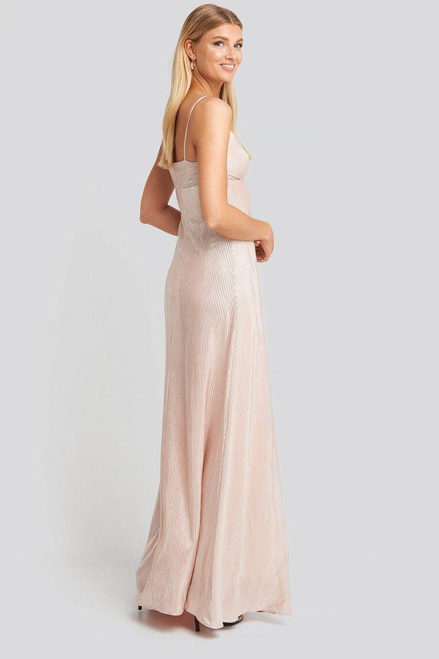 Powder Neck Detail Evening Dress Outfit.