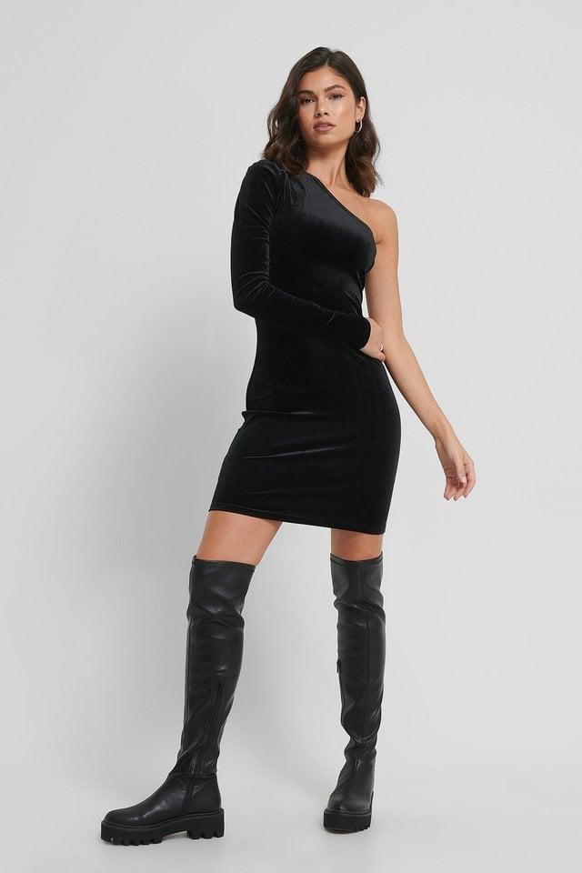 One Shoulder Velvet Dress Outfit.