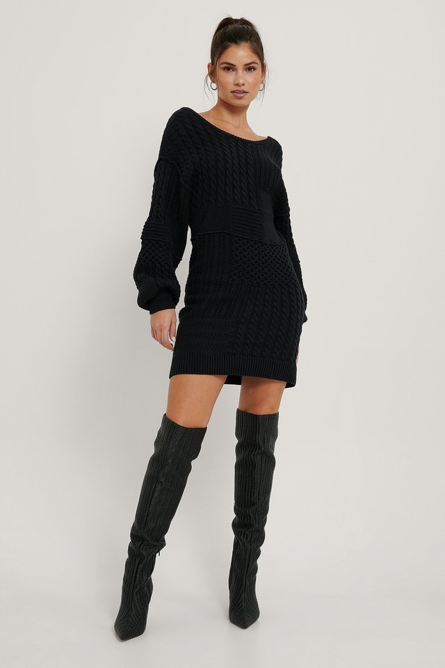 Organic Cable Knitted Deep Back Long Sweater Outfit.