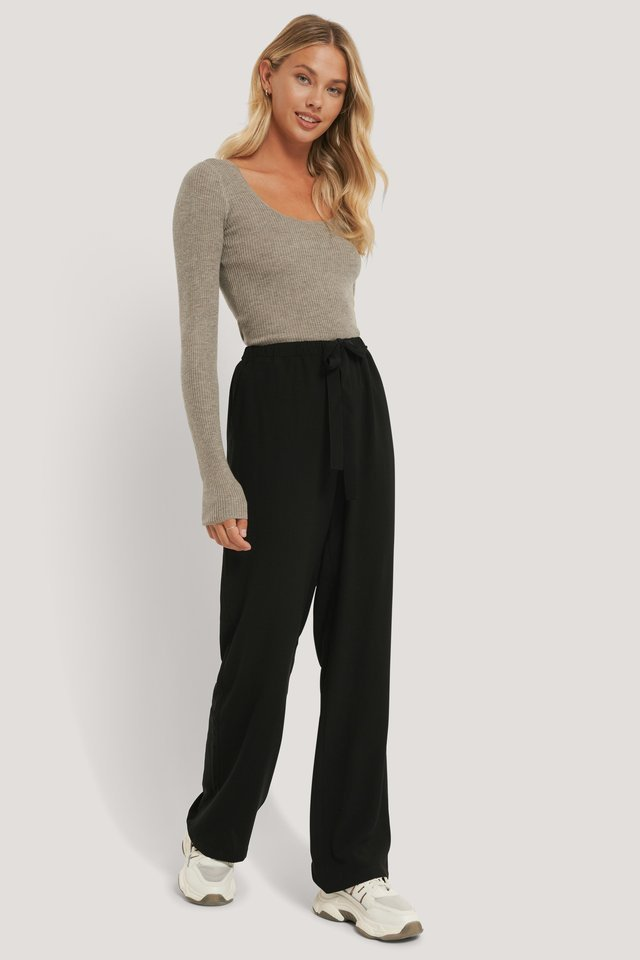Recycled Tie Belt Wide Leg Pants Outfit.