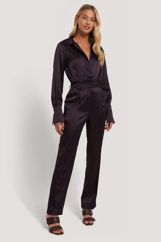 Satin High Rise Suit Pants Outfit.
