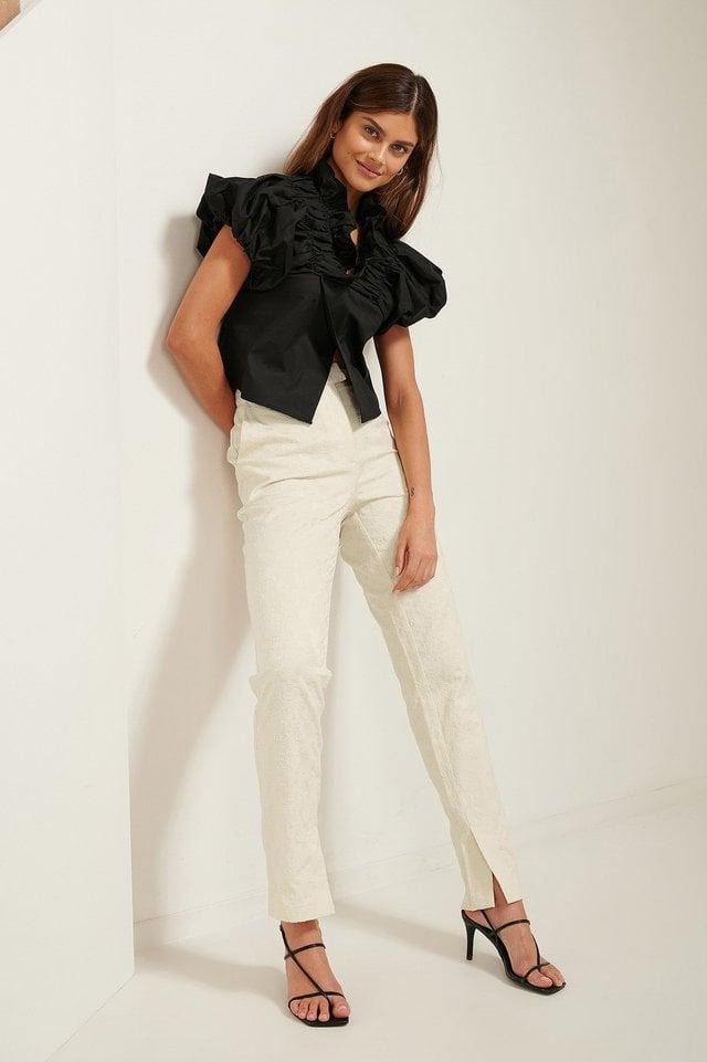 Jacquard Slit Pants Outfit.