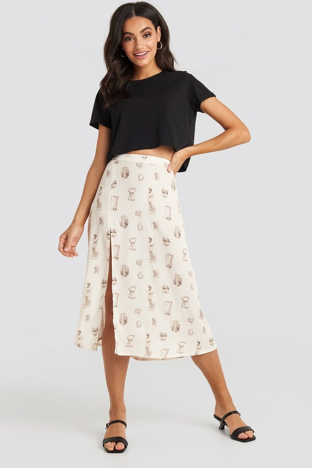 Beige Side Split Midi Skirt
