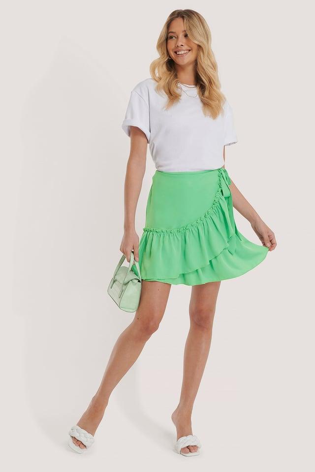 Frill Overlap Mini Skirt Outfit.