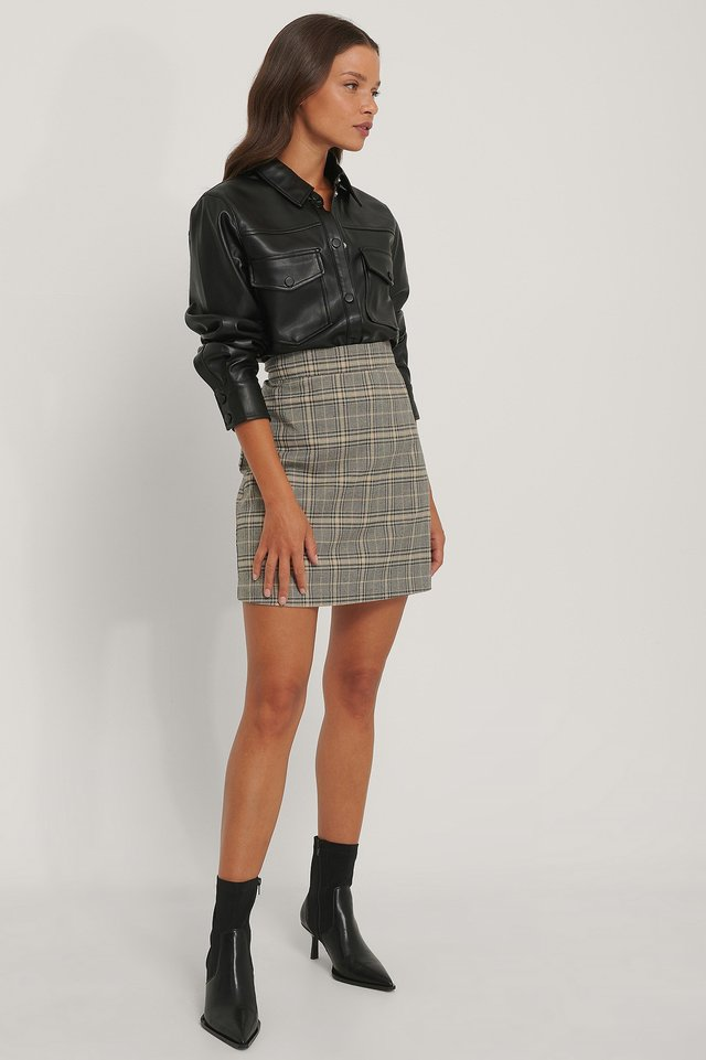A-line Mini Check Skirt Outfit.