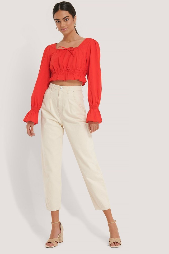 Cotton Square Neck Bow Blouse Outfit.