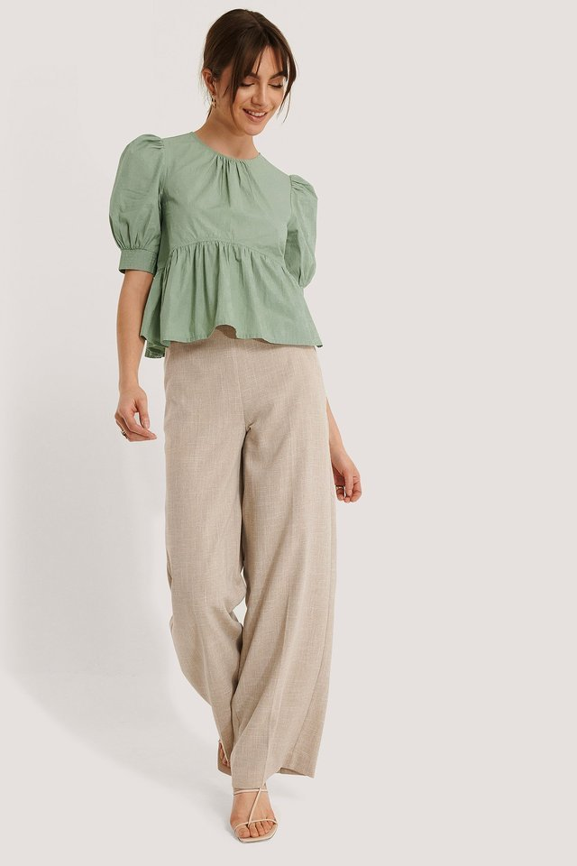 Light Green Katoenen Blouse Met Pofmouwen