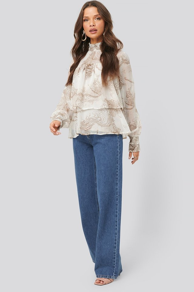 Oyster Printed Smocked Blouse Outfit.