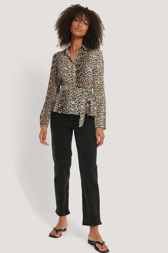 Leopard Blus Med Knappar