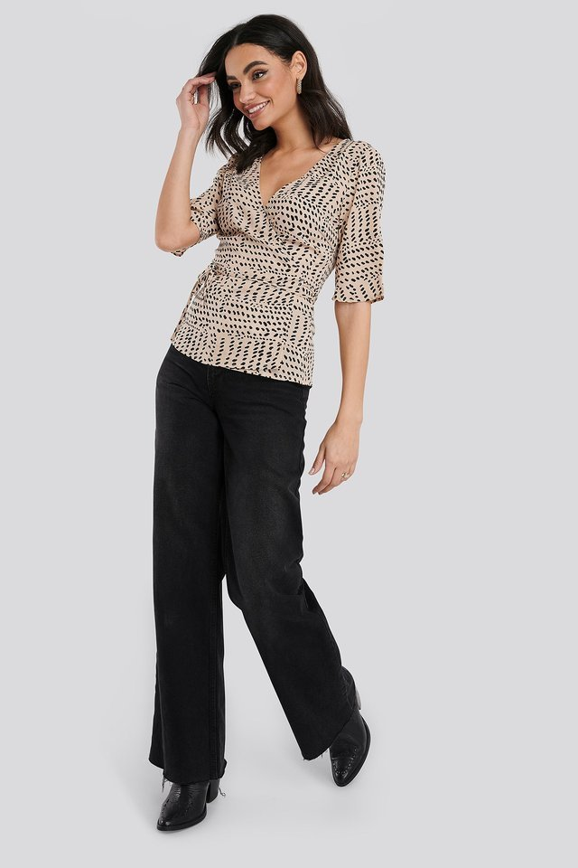Overlap Printed Blouse Outfit.
