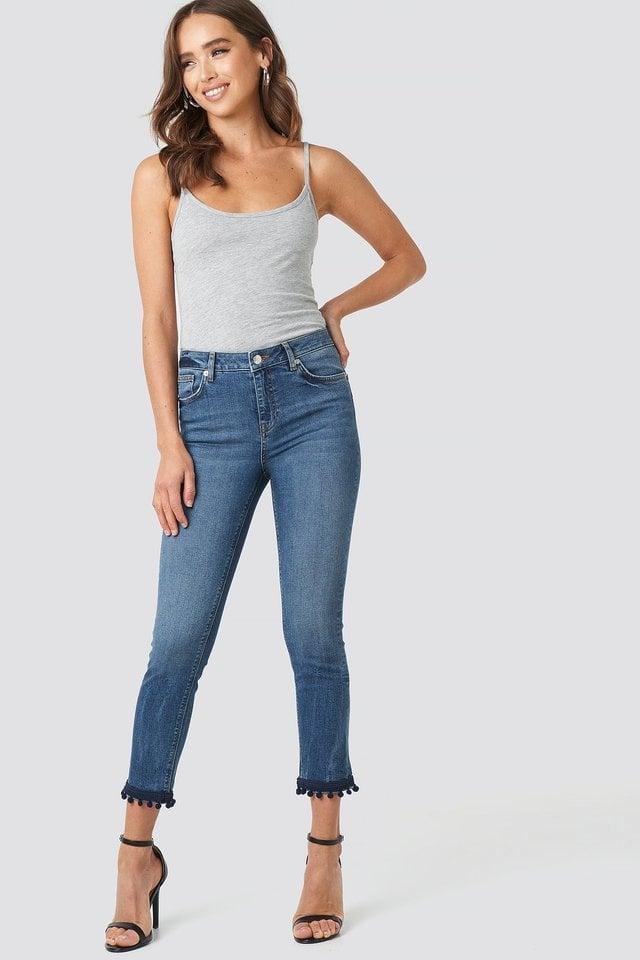 Pom Pom Trim Skinny Jeans Blue.