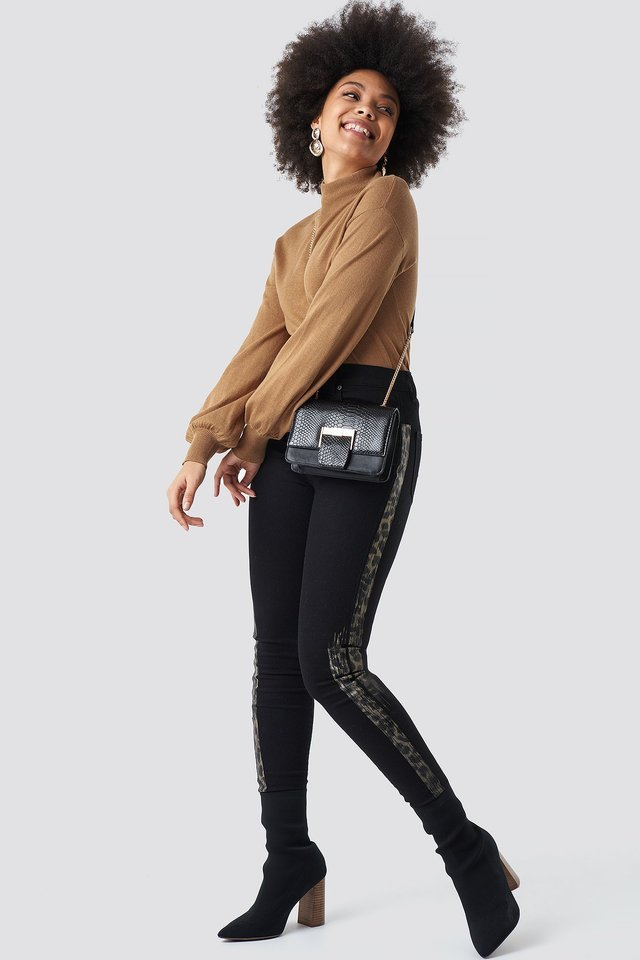 Leopard Side Print High Waist Skinny Jeans Black.