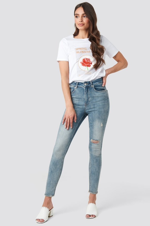 Skinny High Waist Worn Look Jeans Blue.